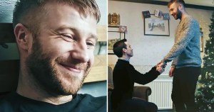 Images of a Christmas short film: On the left, close-up of a man smiling. On the right, a man kneeling in front of the same man asking to marry him.