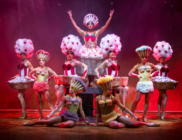 Performers wearing cupcake themed dresses in a song for Priscilla Queen of the Desert