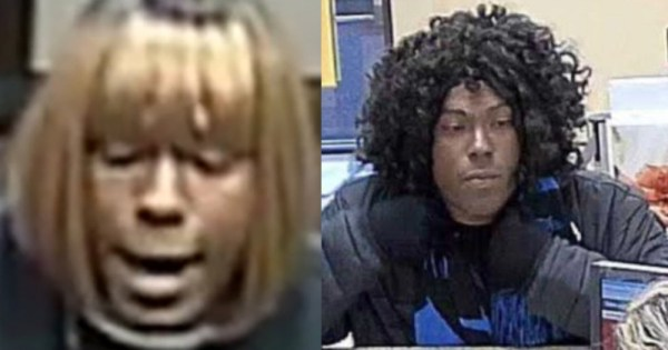 Bank video footage of the Bad Wig Bandit wearing a blonde wig on one occasion and a curly black one on a different robbery.