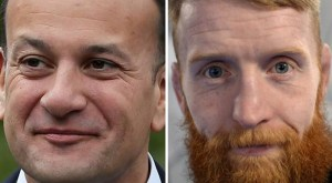 Varadkar on left Sinn Féin Paddy Holohan on right