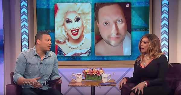 Panelists on a talk show with a screen in the background showing a drag queen in and out of makeup