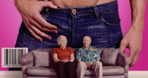 Poster for Circus of Books : An old woman and man sit on a couch, a huge image of a man's crotch in jeans on the wall behind them