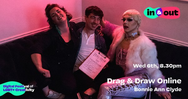 A stylishly dressed woman, man and drag queen lounge on a couch, laughing