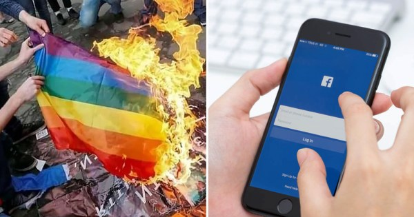 Split screen between a rainbow flag burning and Facebook app on a phone, there has been a rise in online hate speech on the platform