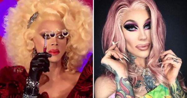 A split screen of two drag queens posing.