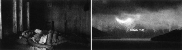 """art piece, two black and white photographs side by side. The first of a couple laying in bed, the next a mountain landscape with the text """"Norway, 1941"""". Both up for auction to keep Outhouse open."""