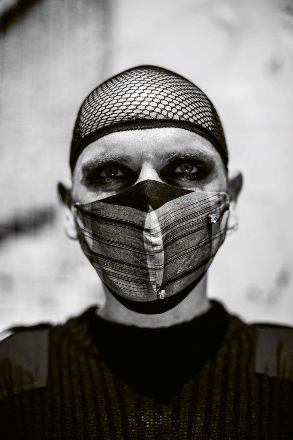 Close-up of drag queen Veda wearing a mask during a lockdown photoshoot