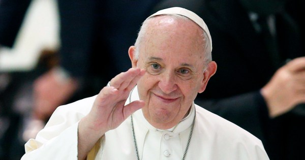 Pope Francis waving. In a recent interview, he declared his support for same sex civil unions