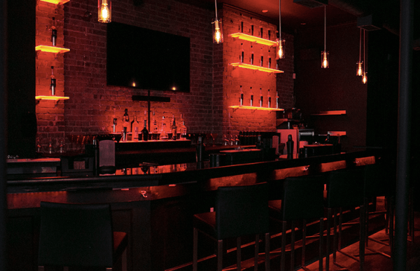 The bar of Lambda Lounge, the second Black owned LGBTQ+ bar in NYC