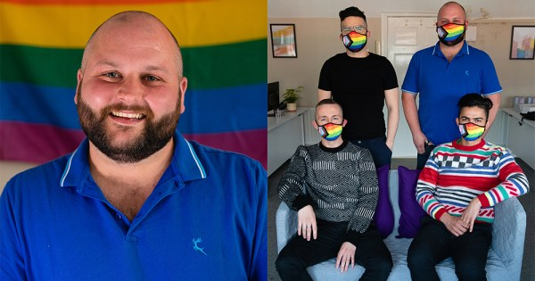 A split screen image of a smiling man in front of a rainbow flag and four men in rainbow face masks