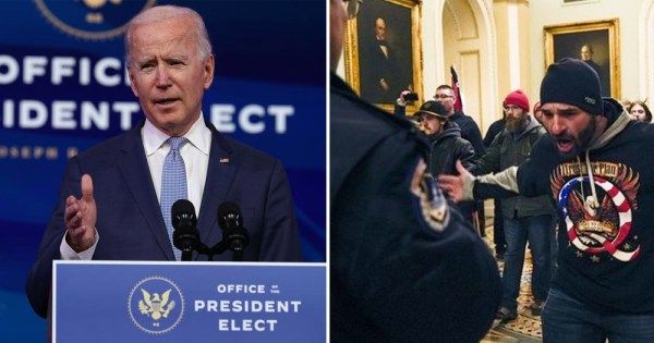 Capitol Riots: Split Screen of Joe Biden on the Left and rioters on the right