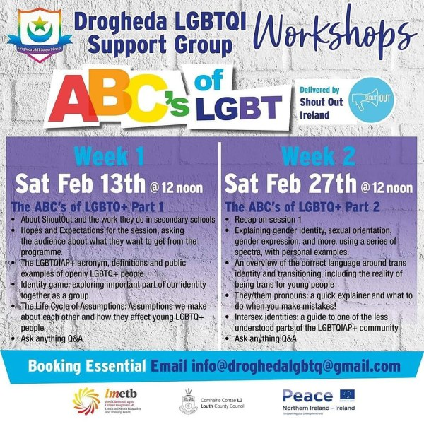 poster for the lgbtq support group outlining details of the workshops