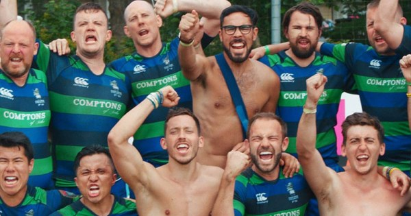 A cheering rugby team