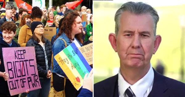 Splitscreen of Pride protest and older male politician