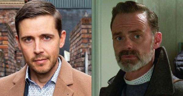 Split screen image of Gareth Pierce and Daniel Brocklebank as characters in Coronation Street