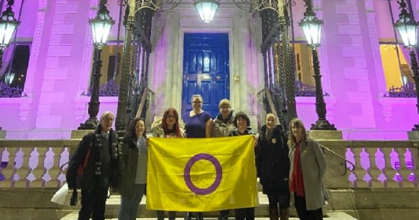 A group of people holding an intersex flag outside a building