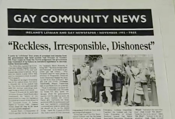 A newspaper title Gay Community News with the heading: Reckless, Irresponsible, Dishonest.