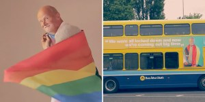 A splitscreen of an older man wrapped in a Pride flag, and a bus