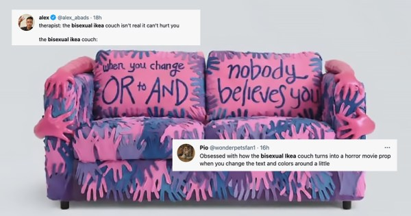 A multicoloured couch covered with hands, one of its cushions reading 'no one believes you'