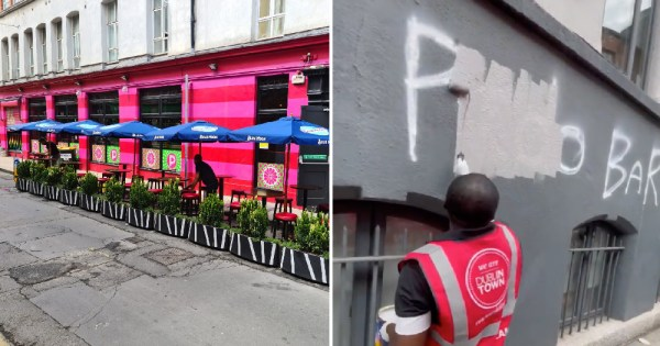 Pantibar homophobic grafitti: split screen of outside of bar on left and person painting over graffiti on right
