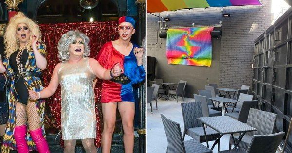 Left: A group of drag queens on a nightclub stage. Right: Outside sitting area of The George with bacl seats and rainbow flags. The iconic gay bar will be reopening in June.