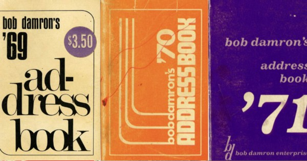 Three old address book covers