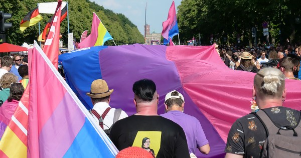 Image of Bi activism at Pride with marchers and the Bi flag