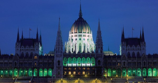 Parliament building lit up at night