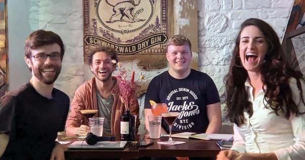 ^ Some of the production team. Eoin Mc Evoy, Jack Moriarty, Kevin Johnston, Ciara Ní É.