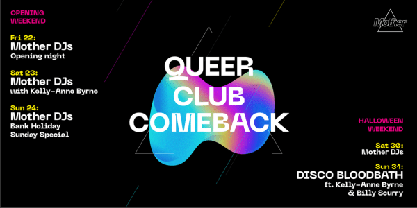 line up poster for Mother queer comeback opening weekend