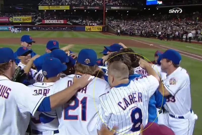 Mets Fan Sneaks Onto Field After Santana's No-Hitter