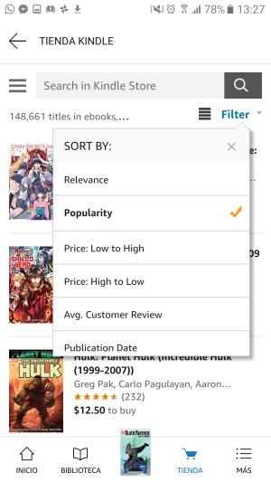 filtrar comics por precio en kindle