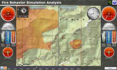 Fire-line simulation analysis ArcGIS web app