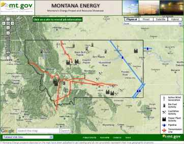ArcGIS Energy Sector Map for Montana