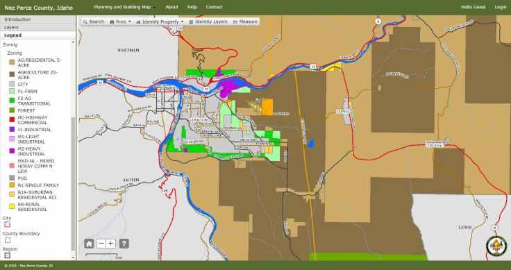 Zoning GIS Map for Nez Perce County, Idaho