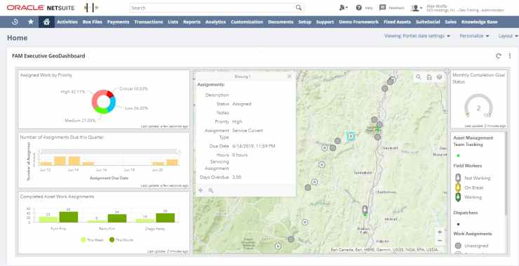 NetSuite FAM Executive GeoDashboards.