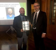 2017 Excellence in Turfgrass Management (Private) Award Recipient Justin Mandon (Pasatiempo Golf Club) with outgoing GCSANC President Sean Tully (Meadow Club), at our GCSANC Annual Meeting and Awards Ceremony on January 16, 2018 at Meadow Club