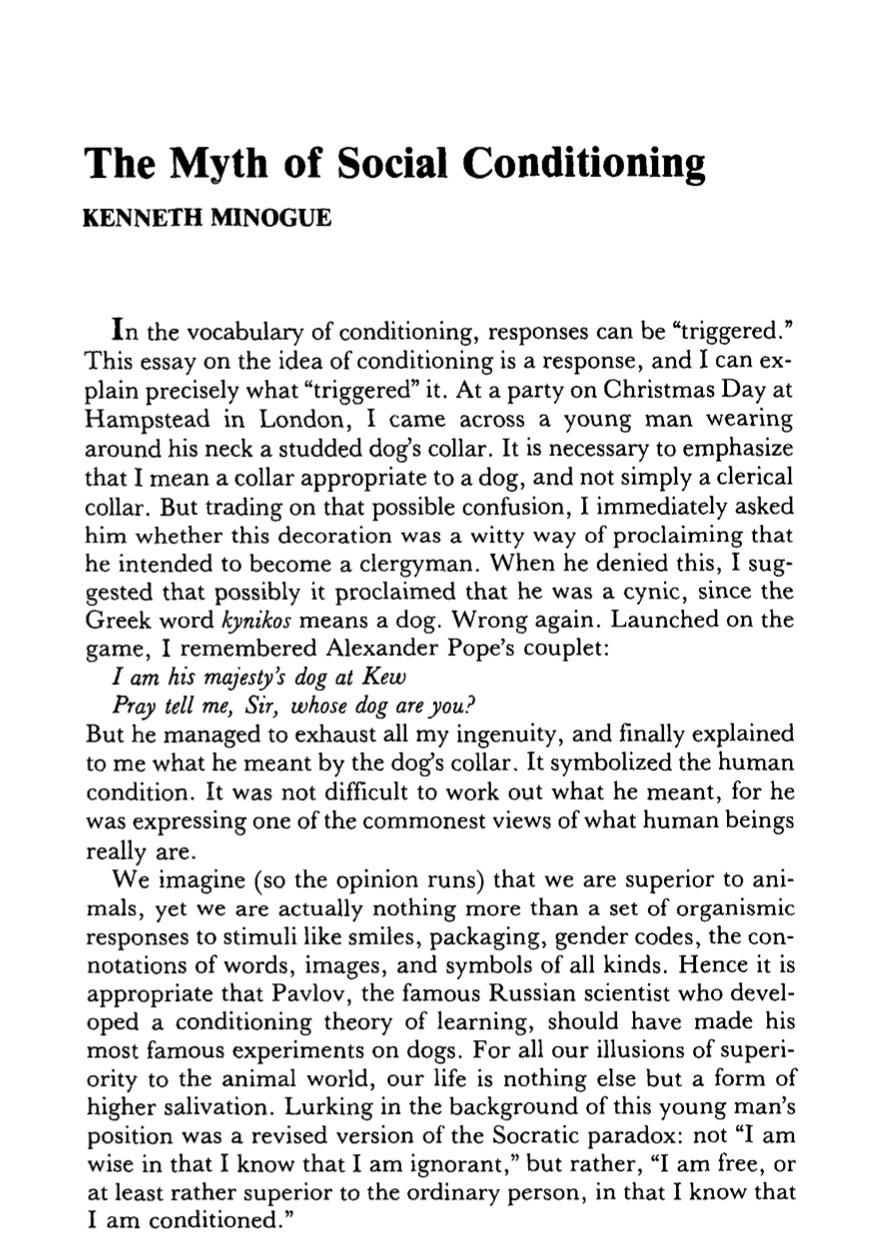 The Myth of Social Conditioning - Kenneth Minogue