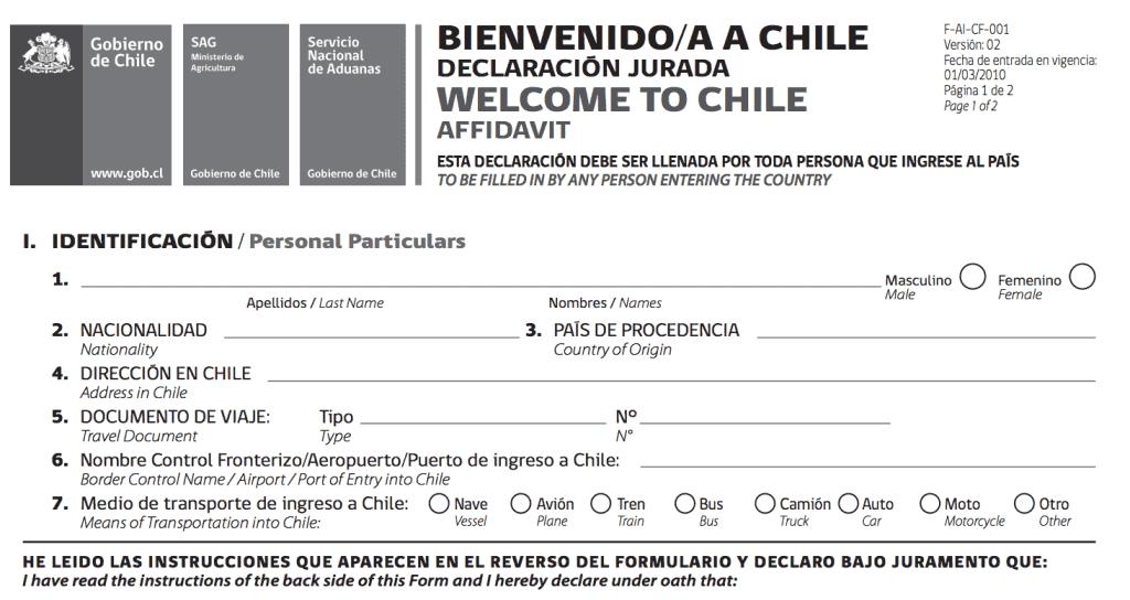 Imigração para entrar no Chile - 2019 | Dicas do Chile