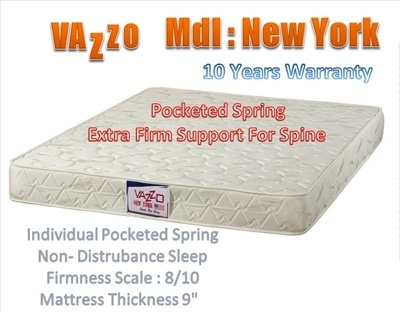 10 Years Warranty Vazzo Pocketed 9 Spring Mattress Free Bed Frame With Purchase