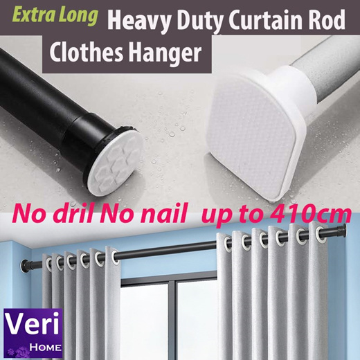heavy duty curtain rod hanger no drill no nail up to 410 cm compression tension rod