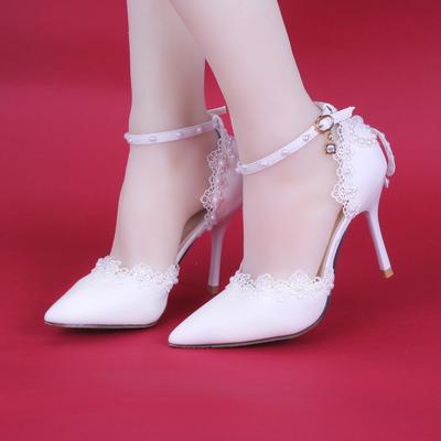 夏季高跟白色側空蕾絲珍珠新娘鞋細跟尖頭厚底拖鞋拍婚紗照女涼鞋-淘寶網