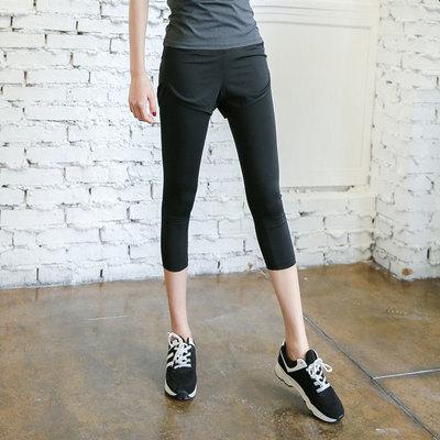 韓國假兩件緊身顯瘦瑜伽七分褲健身房運動跑步服女速干褲子-淘寶網