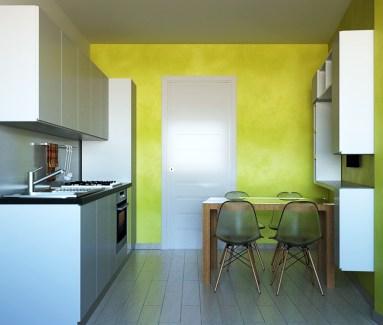 La cucina con la parete in 800 ANTICO VELLUTO di Oikos