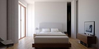 La camera da letto con pavimento sovrapposto in lamparquet Vepal rovere