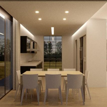 La cucina con illuminazione artificiale.