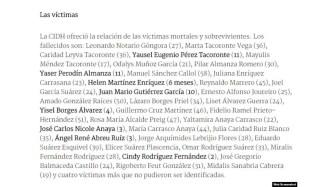 Fallecidos durante hundimiento del Remolcador 13 de marzo en Cuba