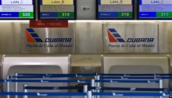 El mostrador de la estatal Cubana de Aviación.