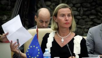 La jefa de la diplomacia de la Unión Europea, Federica Mogherini, la mañana del lunes en el segundo encuentro bilateral UE-Cuba en La Habana (Foto: AFP).