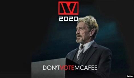 """""""No vote McAfee"""", dice este mensaje que el sitio de internet ccn.com atribuye a su campaña."""